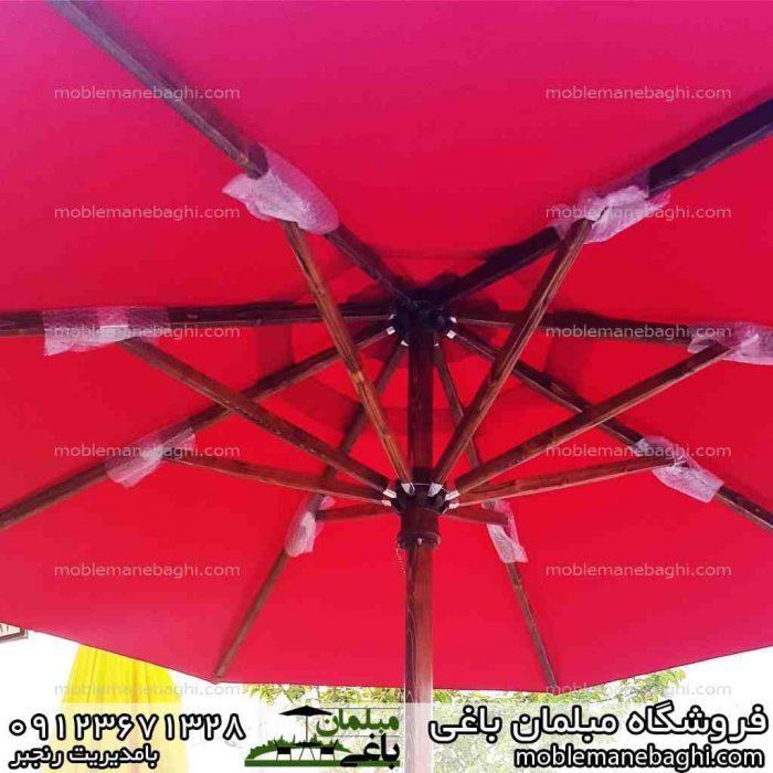 چتر و سایبان باغی قرمز با چوب روسی مقاوم