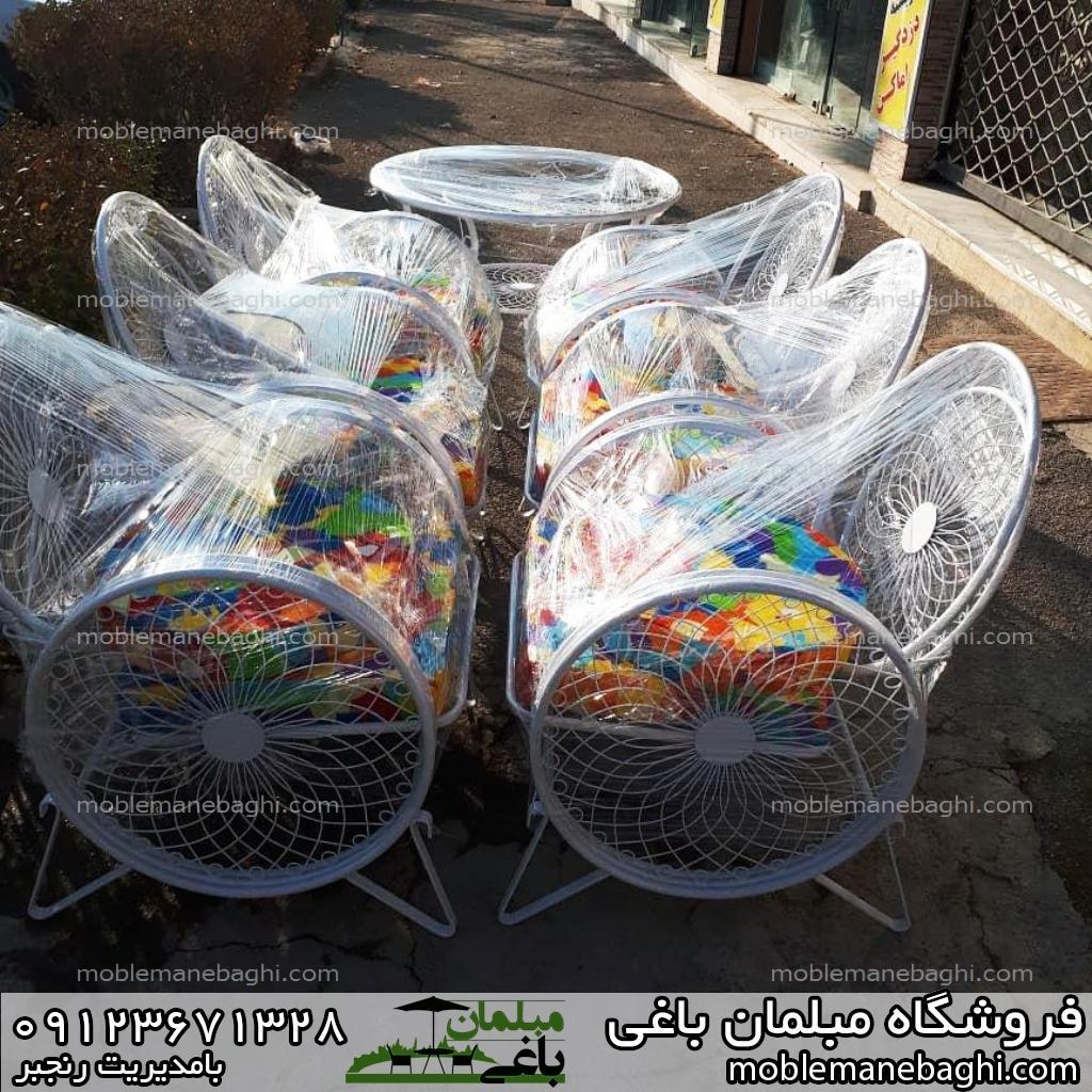 مبلمان باغی میز و صندلی کالسکه ای سلفون شده آماده ارسال به سراسر ایران