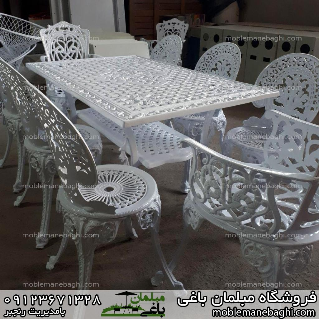 میز و صندلی طاووسی مبلمان باغی طاووسی هشت نفره با میز مستطیلی
