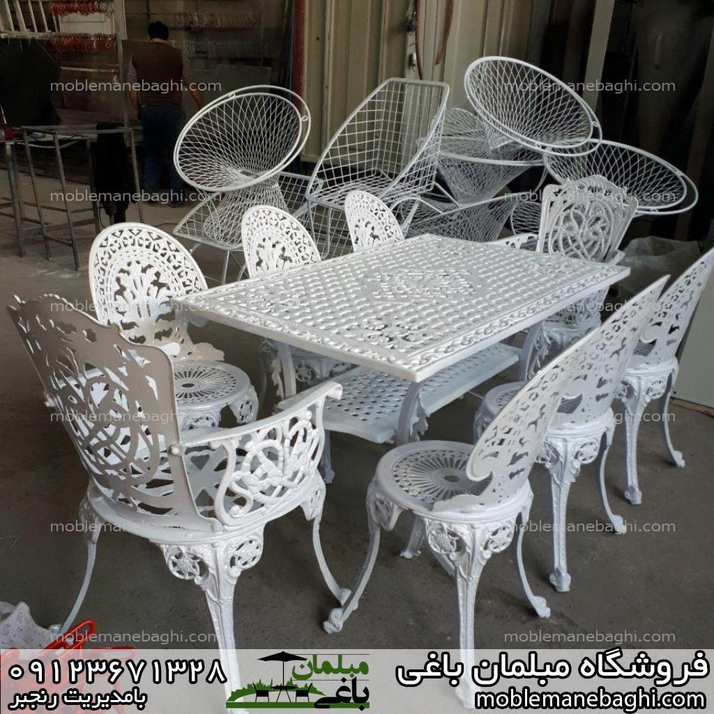 میز و صندلی طاووسی مبلمان باغی طاووسی هشت نفره با میز مستطیلی سفید