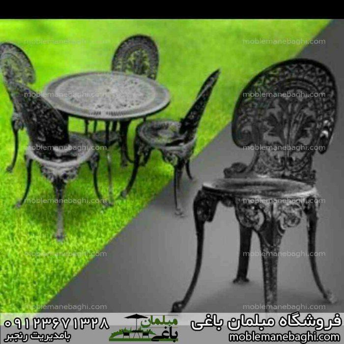 میز و صندلی طاووسی رنگ مشکی