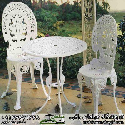 میز و صندلی طاووسی دو نفره مدل ساده