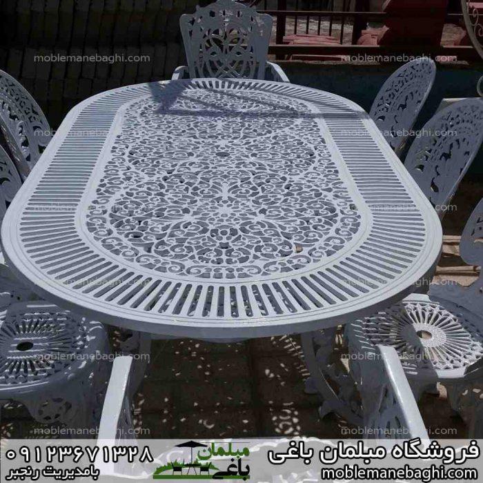 میز و صندلی طاووسی هشت نفره مدل بیضی