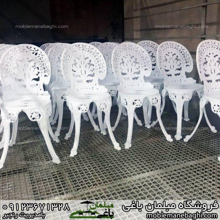مبلمان باغی میز و صندلی طاووسی رنگ نشده خام