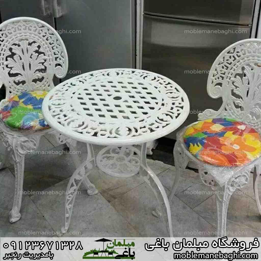 مبلمان باغی میز و صندلی طاووسی سفید شیک
