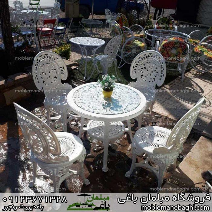 میز و صندلی طاووسی پلاستیکی مبلمان باغی پلاستیکی سفید چهارنفره