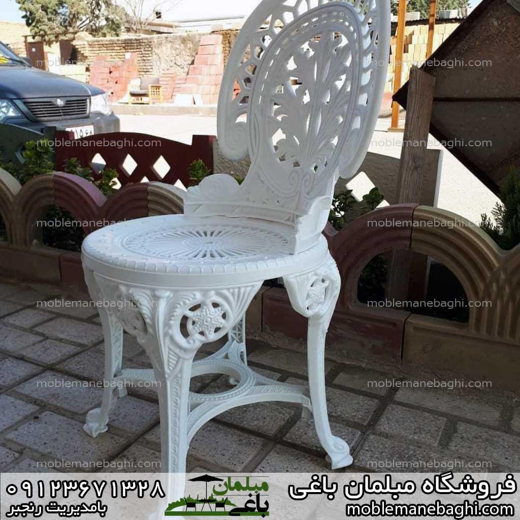 صندلی پلاستیکی طاووسی مبلمان باغی جنس پلاستیک سفید زیبا مقاوم