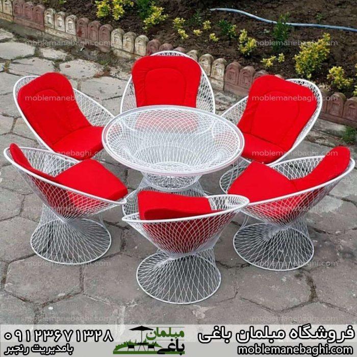 میز و صندلی بامبو ست شش نفره قرمز بسیار زیبا و ست جدید بامبو در حیاط