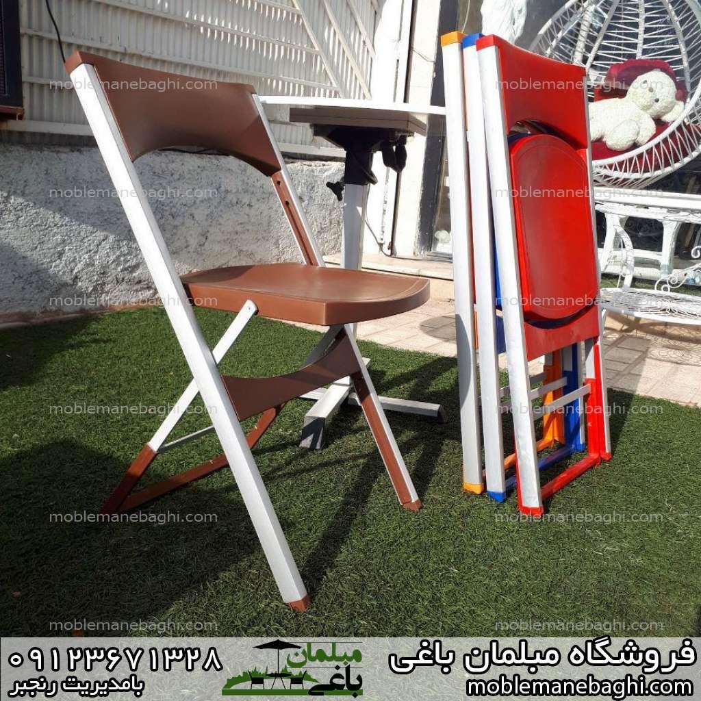 صندلی مسافرتی تاشو آلومینیومی جنس عالی در انواع رنگ بر روی چمن