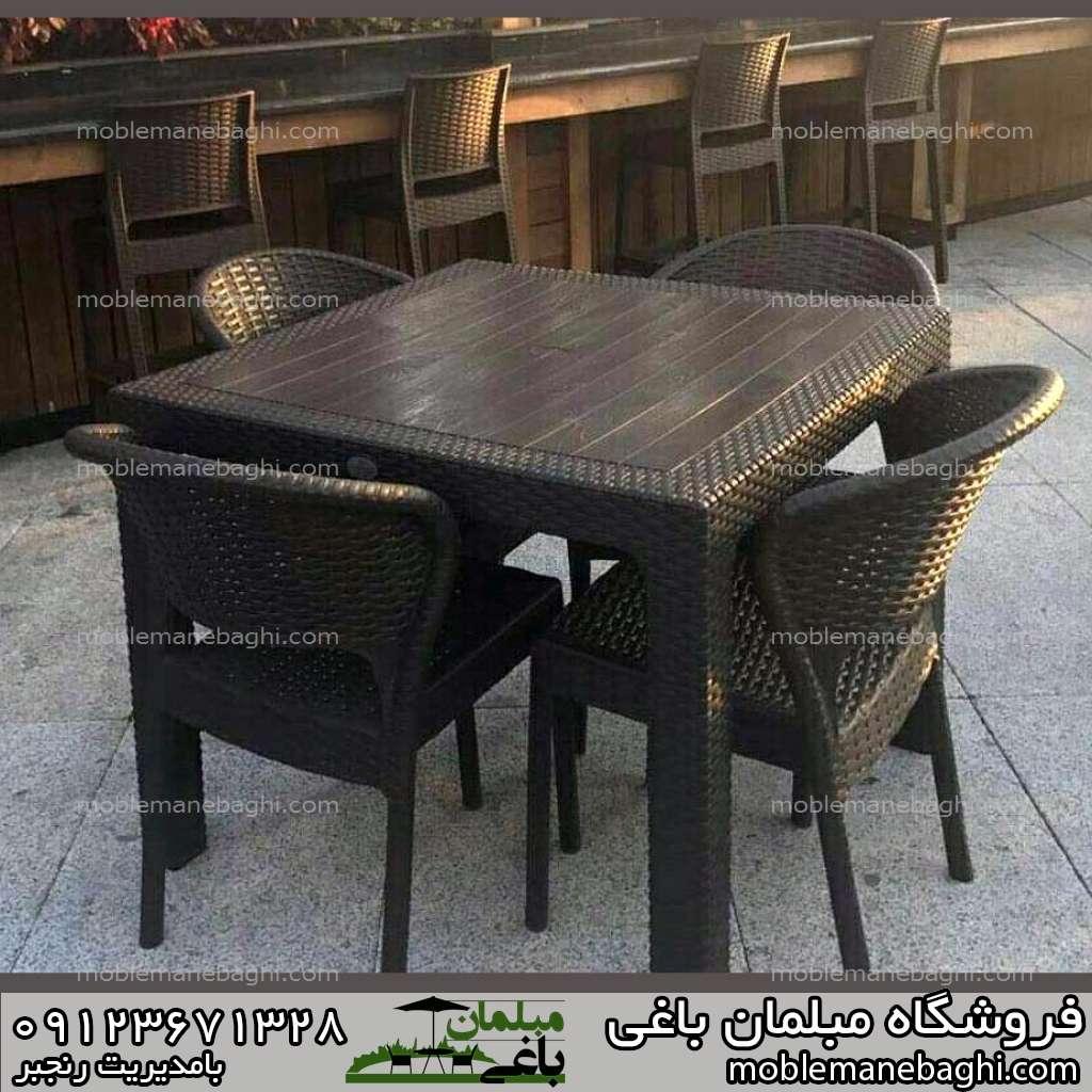 ست چهار نفره میز و صندلی حصیری ناصر پلاستیک