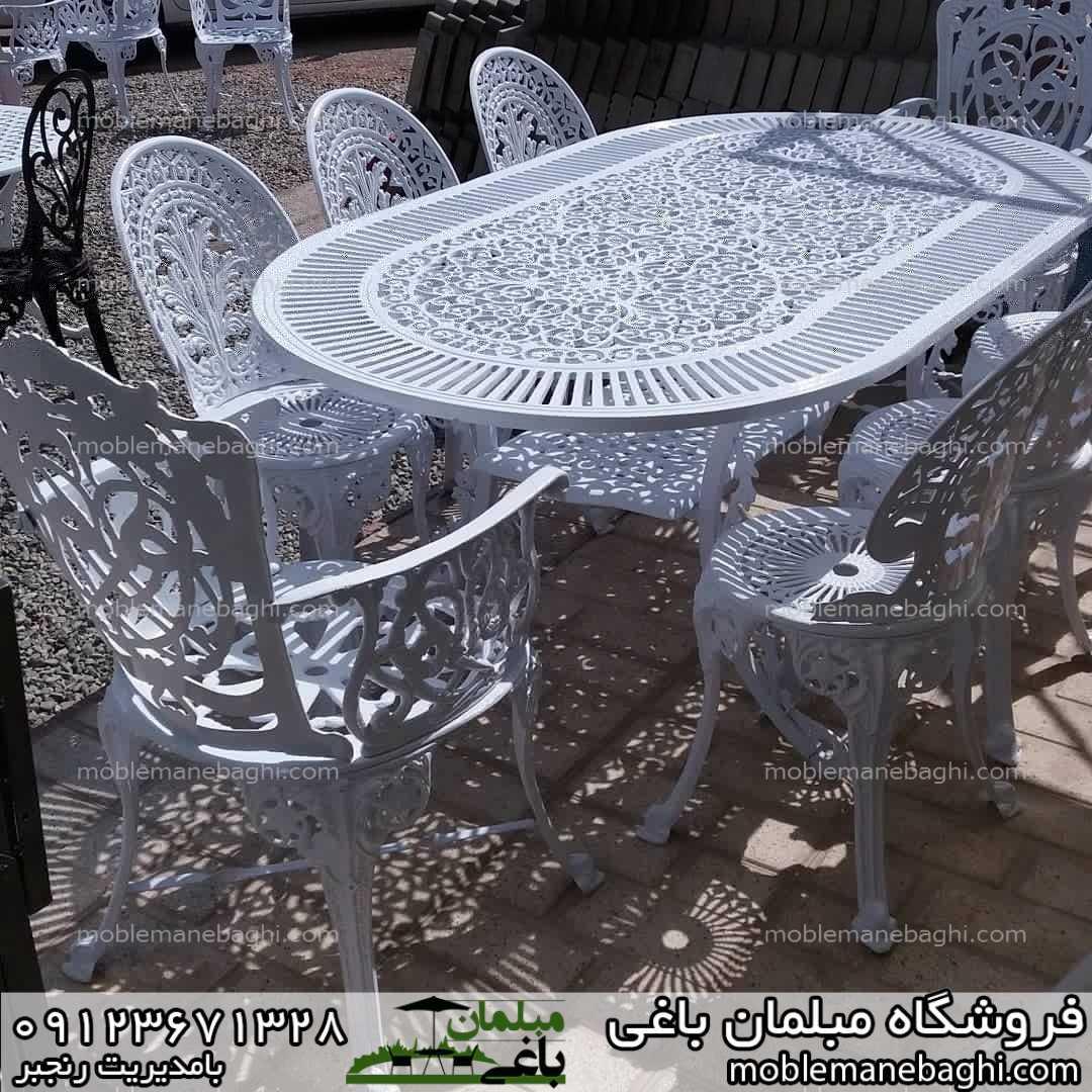 ست 8نفره مبلمان طاووسی تمام آلومینومی سفید رنگ به همراه میز بیضی شامل شش صندلی مدل طاووسی و دوصندلی میزبان مدل مرغابی