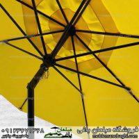 سایه بان باغی مدل زاویه خور رنگ زرد بسیار باکیفیت چترباغی فلزی قطر سایه سه متری