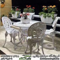 مبلمان فضای باز مخصوص ویلا و حیاط مدل طاووسی ست چهار نفره در تراس آپارتمانی شیک