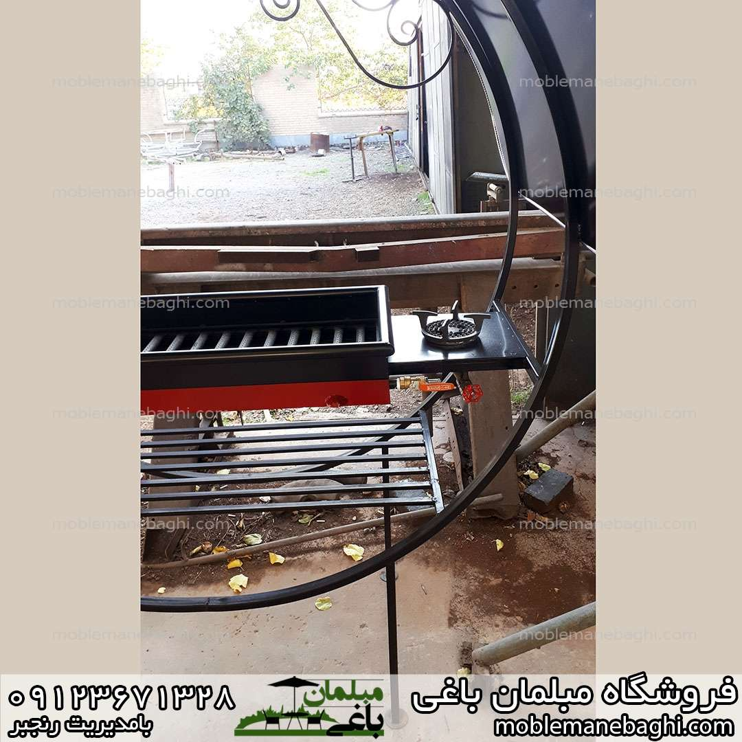 باربیکیو دوکاره گازی ذغالی منقل کباب پز مناسب فضای باز دارای شعله اجاق گاز