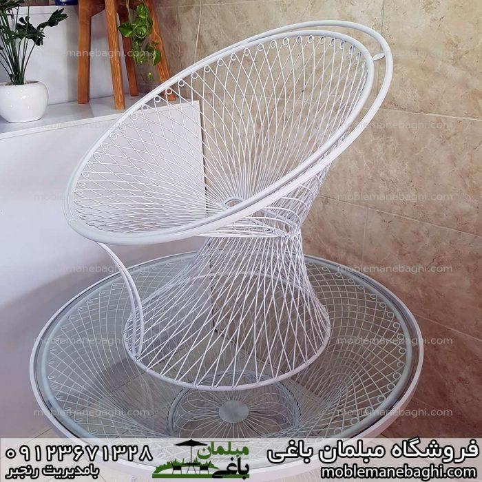 مبلمان فلزی حیاطی بامبو بسیار باکیفیت و خاص بافت حلقه باکیفیت