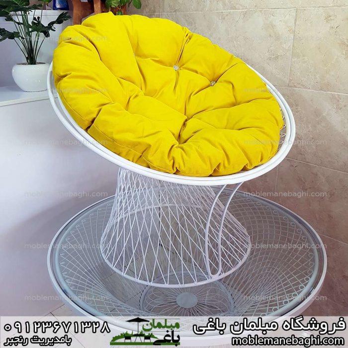 مبلمان ویلایی بامبو با تشک راحتی زرد بسیار خاص و زیبا