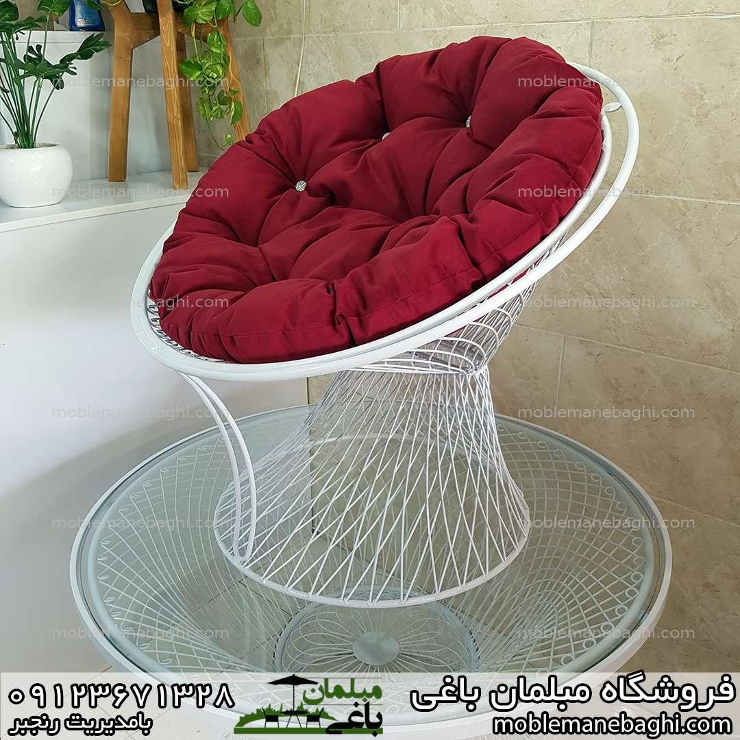 صندلی فضای باز بامبو با تشک راحتی مبلی رنگ زرشکی