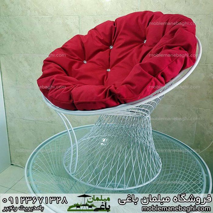 صندلی ویلایی فلزی بامبو با تشک ابری قرمز بسیار راحت و شیک قیمت مبلمان بامبو