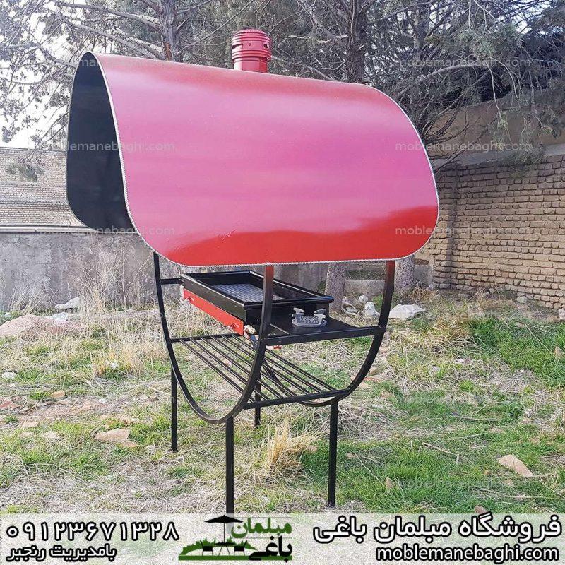 کباب پز ذغالی گازی به همراه شعله اجازه گاز مخصوص فضای باز ویلا