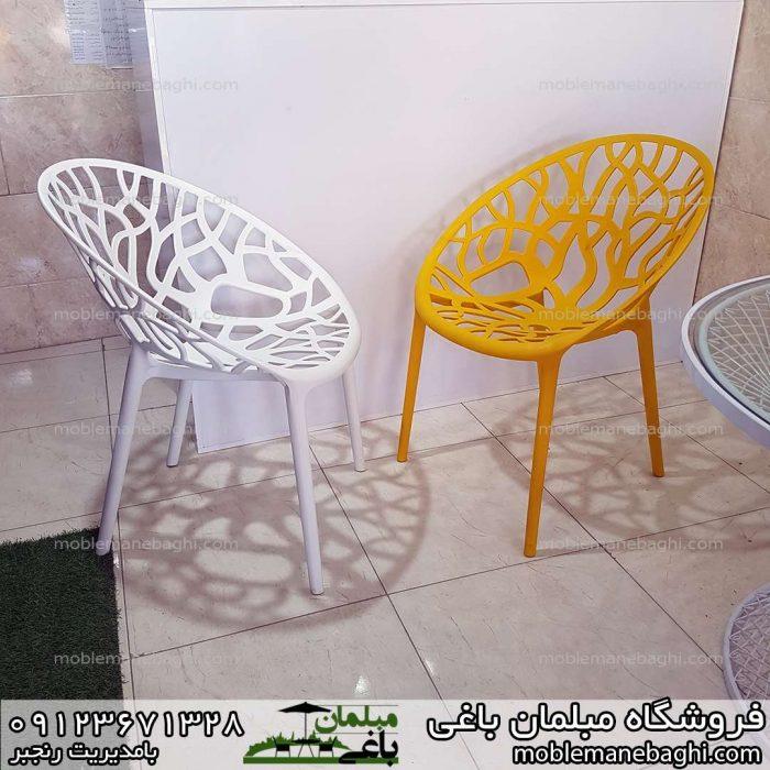 صندلی کریستالی یا صندلی پلی کربناتی رنگ زرد و سفید بسیار خاص و شیک و راحت و مقاوم قیمت مناسب