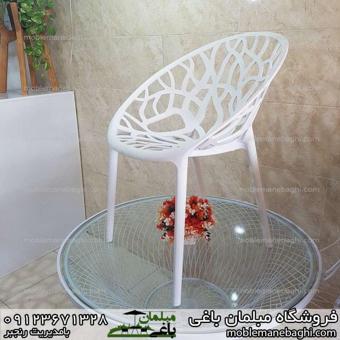 صندلی درختی کریستالی مدل پلی کربناتی رنگ سفید راحت و شیک