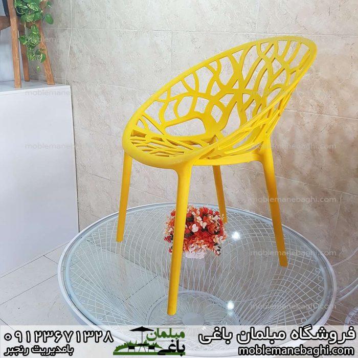 صندلی پلی کربنات مدل درختی رنگ زرد