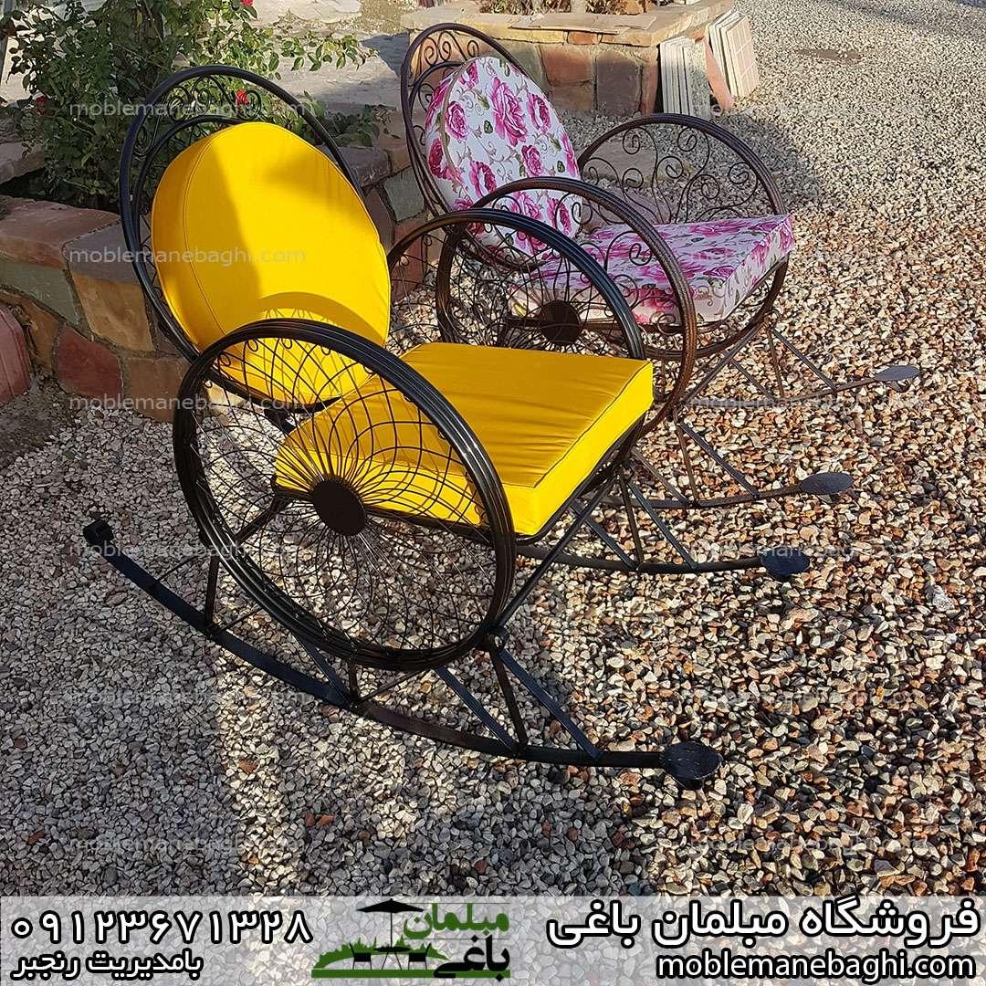 صندلی راک یا گهواره ای بسیار راحت و آرامش بخش مناسب ویلا و باغ جنس فلز درجه یک