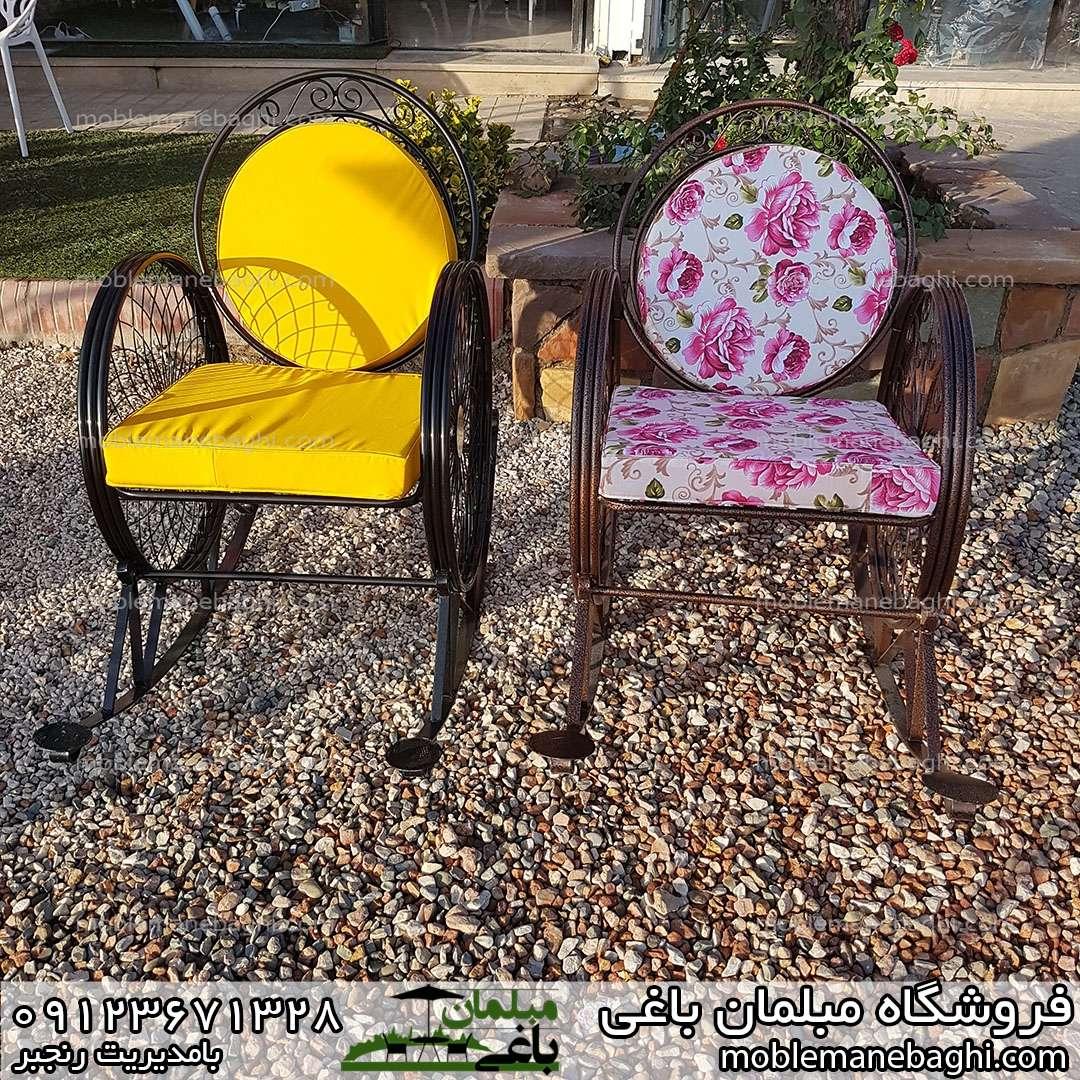 صندلی گهواره ای یا راک مدل گلبرگ و فرفورژه مناسب فضای باز با پارچه درجه یک ضد آب