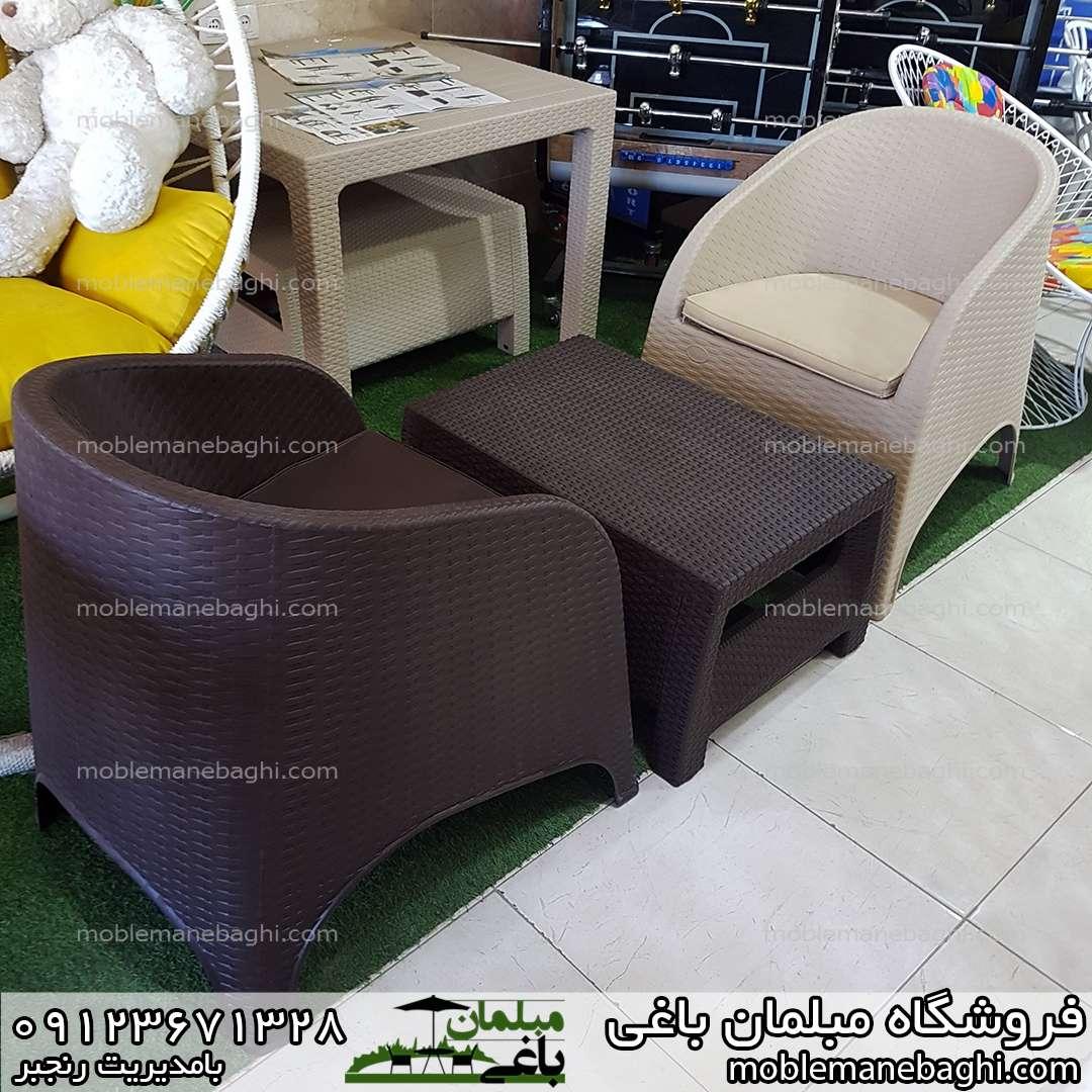 صندلی حصیری ناصرپلاستیک کد890 مبلی در رنگ های کرم و قهوه ای دونفره با میز جلومبلی ناصرپلاستیک کد3020