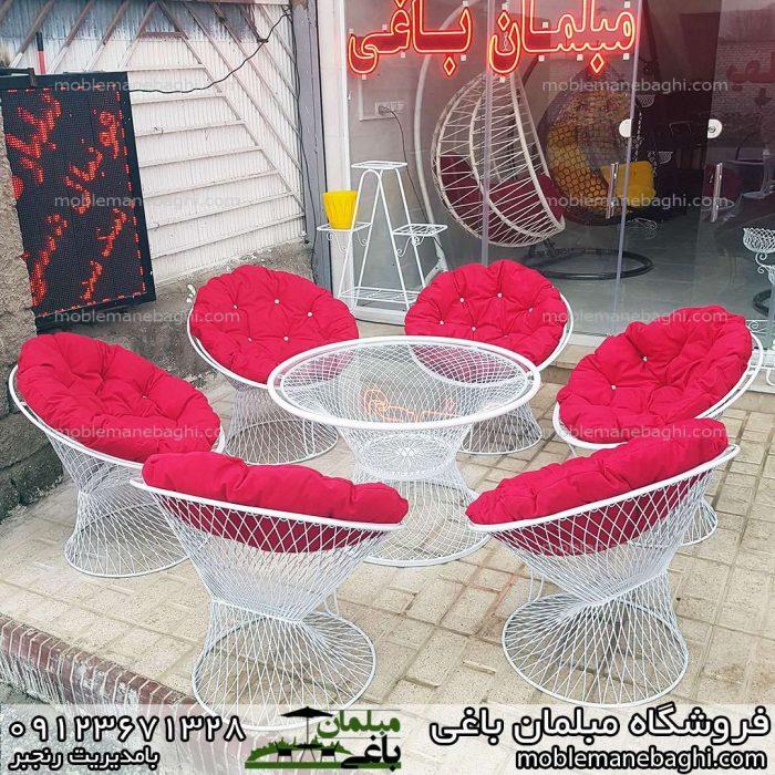 مبلمان باغی ویلایی مدل بامبو ست شش نفره میزوصندلی بامبو درجه یک با تشک های مبلی نرم و راحت ست قرمز مبلمان باغی بامبو لاکچری
