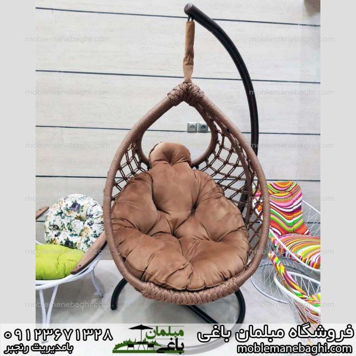 صندلی راحتی ابریشمی صندلی ریلکسی مدل مونیخ تمام ابریشم درجه یک رنگ قهوه ای با تشک ها و کوسن های درجه یک با قیمت عالی