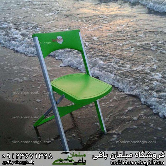 صندلی مسافرتی تاشو پایه آلومینومی در کنار ساحل مواج شمال قیمت صندلی تاشو بسیار مناسب