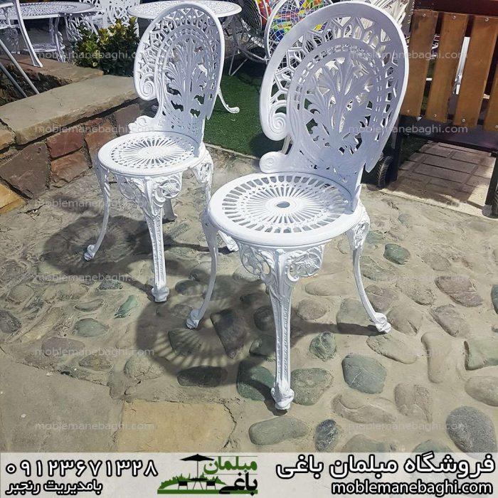 صندلی آلومینیومی مدل طاووسی در دو سایز کوچک و بزرگ