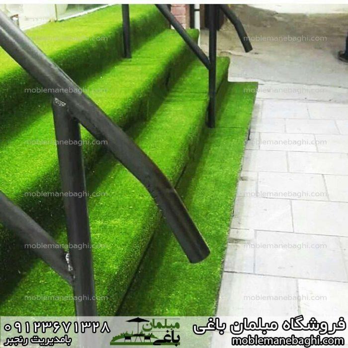 اجرای چمن مصنوعی برای راه پله بسیار شیک و زیبا و مقاوم و طبیعی