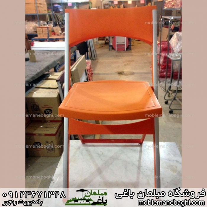 صندلی تاشو باکیفیت مدل کلاسیک رنگ نارنجی