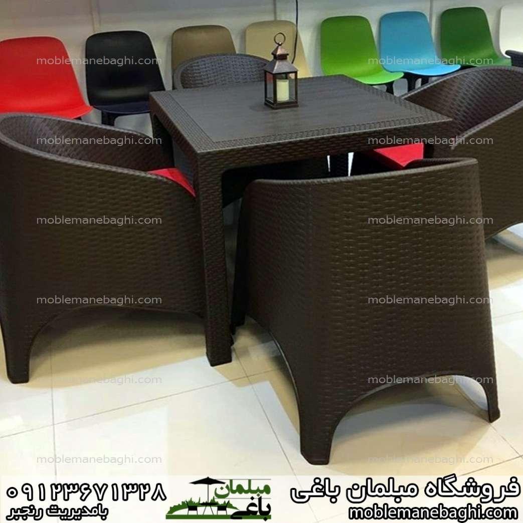 صندلی رستورانی حصیری ناصر پلاستیک کد 890 مبلی به همراه میز حصیری کد 321