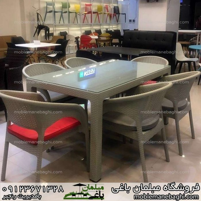 صندلی رستورانی حصیری ناصر پلاستیک کد 992 به همراه میز شش نفره تمام حصیری کد 323