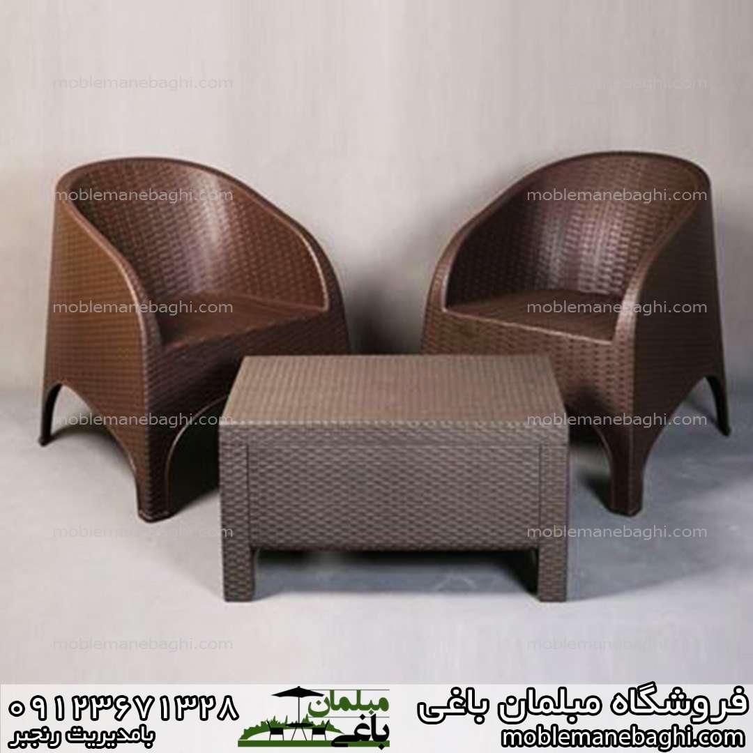 صندلی حصیری مدل مبلی کد890 ناصرپلاستیک به همراه جلومبلی حصیری ناصرپلاستیک کد3020
