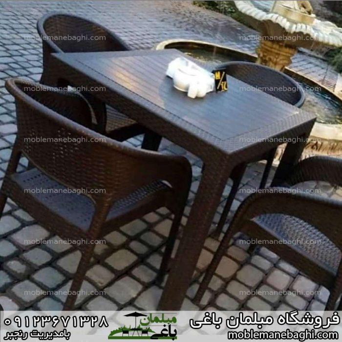 صندلی حصیری ناصرپلاستیک کد 992 ست چهار نفره به همراه میز حصیری ناصرپلاستیک کد323