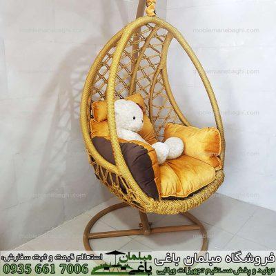 صندلی ریلکسی ابریشمی باکیفیت و درجه یک رنگ طلایی مناسب دکور آپارتمان لاکچری بسیار باکیفیت و آرامش بخش