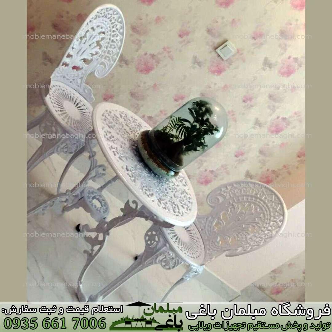 صندلی آلومینیومی دونفره مدل طاووسی شیک و لاکچری مخصوص فضای باز باغ ویلا و روف گاردن و دکوری شیک