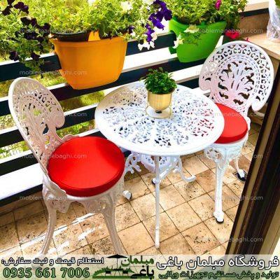 میز و صندلی آلومینیومی دونفره مدل طاووسی مخصوص فضای باز باغ باغچه و ویلای لاکچری بسیار باکیفیت و درجه یک
