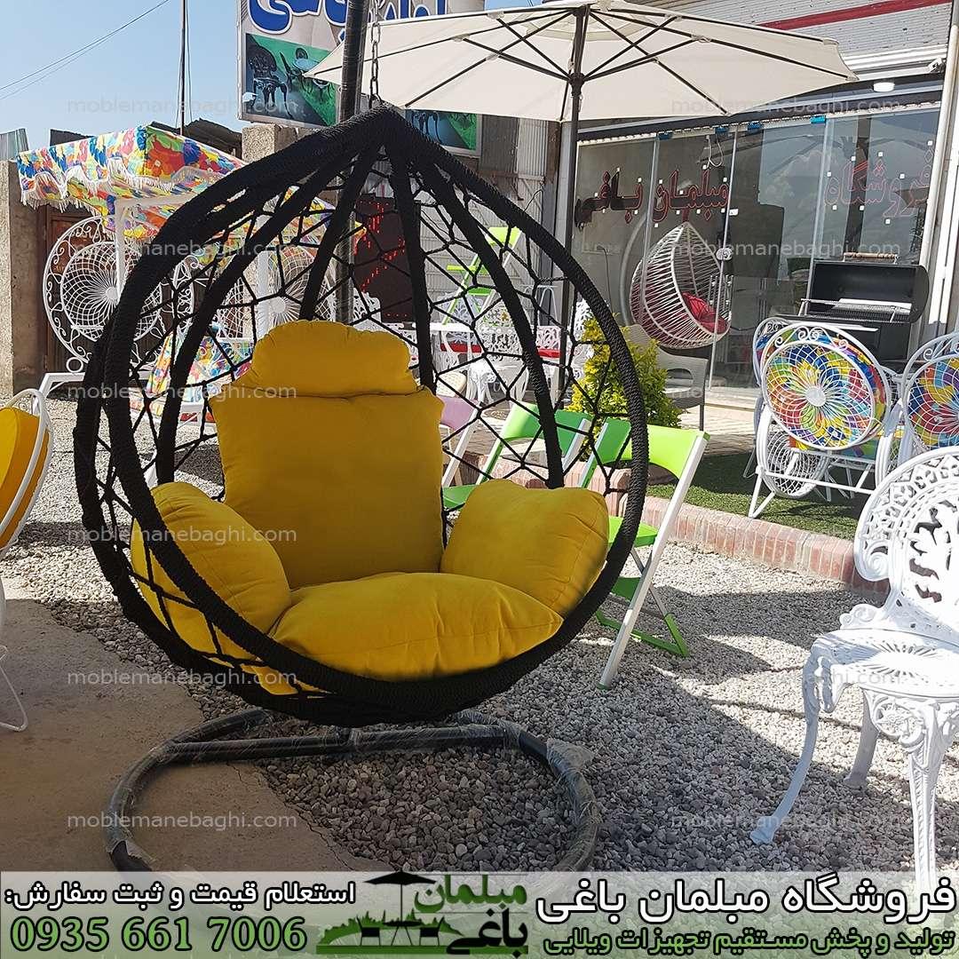 صندلی ریلکسی مدل اشکی بافت عنکبوتی معمولی قیمت صندلی ریلکسی بسیار ارزان با رنگ بدنه و بافت مشکی مخصوص آپارتمان و تراس