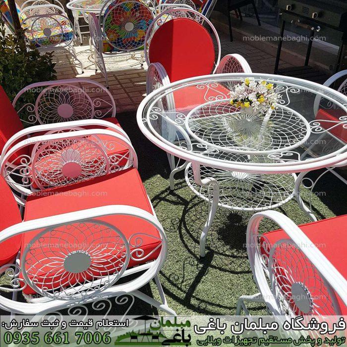 ست صندلی فلزی باغی شش نفره مدل مبلمان باغی ویلایی خورشیدی باکیفیت و شیک تشک قرمز مخصوص ویلا و فضای باز باغچه و باغ