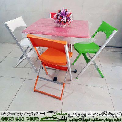 میز و صندلی تاشو مسافرتی درجه یک پایه آلومینیومی صندلی تاشو باکیفیت در رنگ های سبز نارنجی سفید قرمز به همراه میز تاشو چهارنفره درجه یک