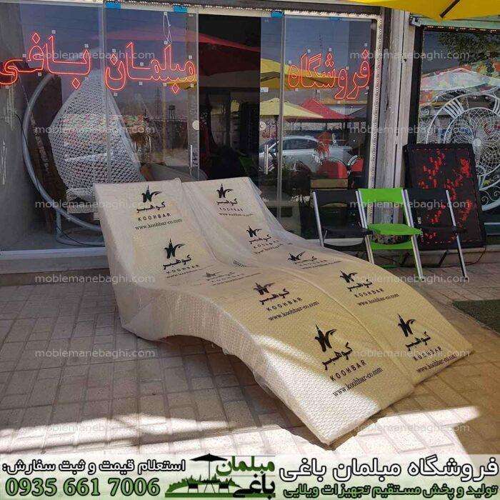 تخت کنار استخر حصیری مدل تخت کنار استخری کوهبر درجه یک رنگ کرم مخصوص کنار استخر و باغ و ویلای لاکچری