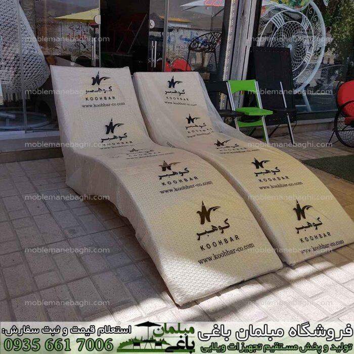 تخت کنار استخری حصیری کوهبر در رنگ کرم مخصوص کنار استخر و باغ و ویلا قیمت تخت کنار استخر بسیار مناسب و درجه یک