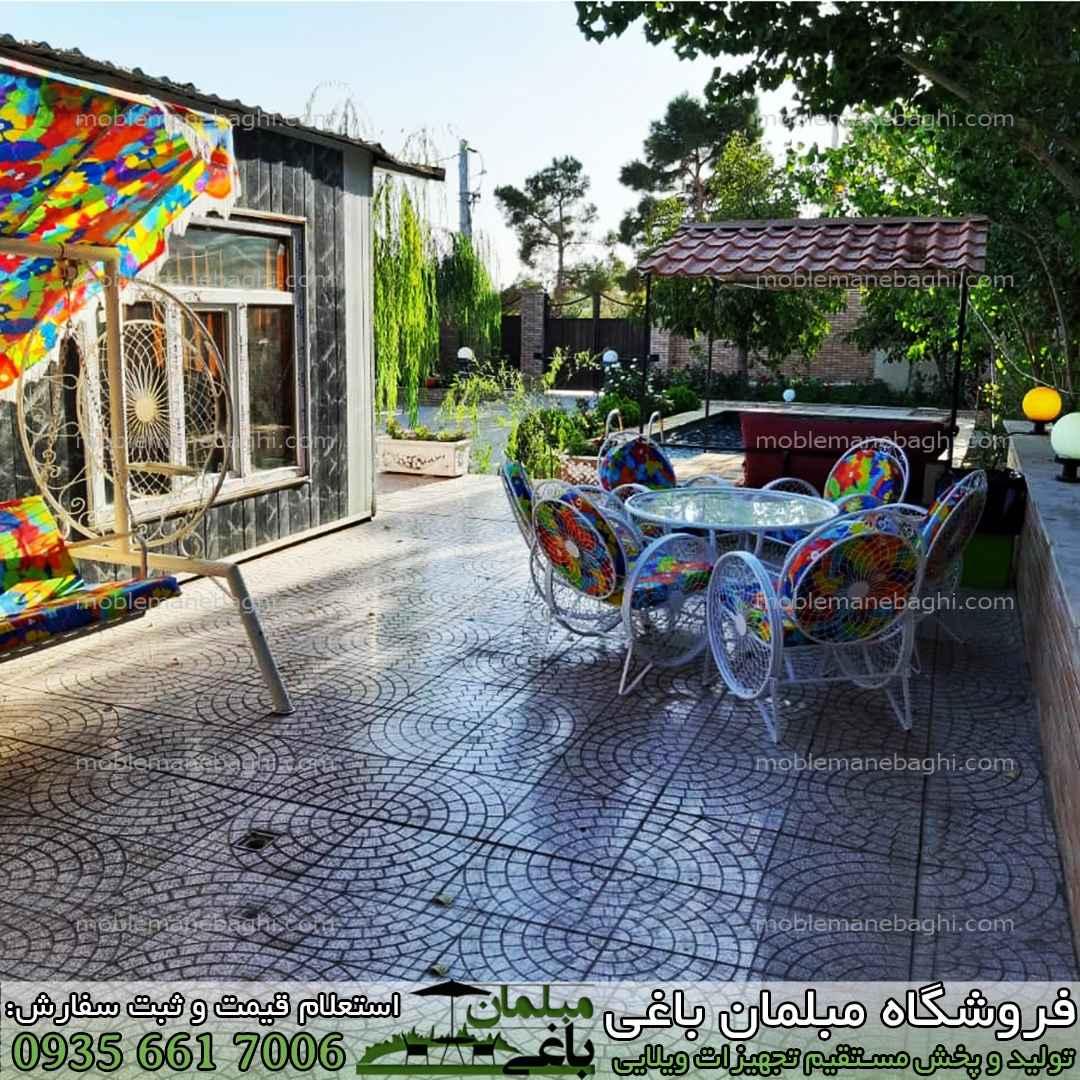 ست شش نفره مبلمان باغی مدل گلبرگ بهترین قیمت مبلمان باغی با بالاترین کیفیت مبلمان باغی فلزی در یک ویلای زیبا همراه تاب باغی