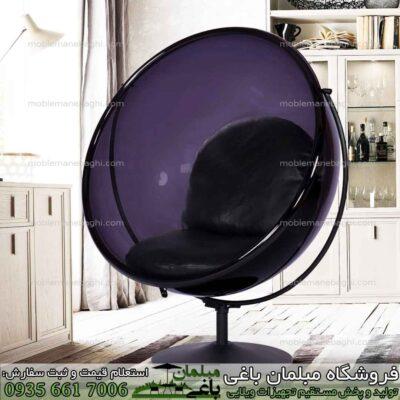 تاب ریلکسی شیشه ای یا تاب آویزان مدل شیشه ای پلکسی گلاس درجه یک رنگ مشکی به صورت راک راحتی با پایه بسیار شیک مخصوص آپارتمان لاکچری و فضای باز