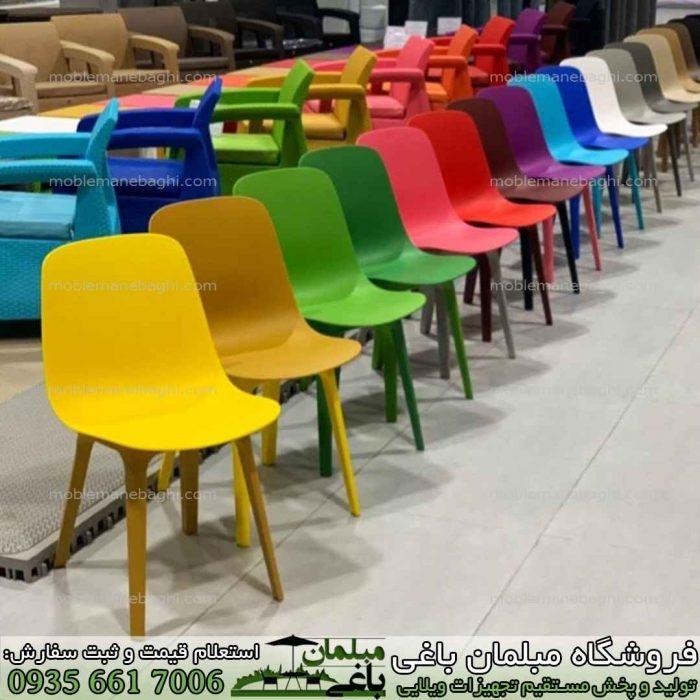 مرکز پخش عمده صندلی پلیمری بابل مدل تیکا در رنگ های بسیار متنوع و زیبا در کنار یکدیگر مناسب کنار استخر و ویلا و آپارتمان و فضای باز با قیمت پخش صندلی تیکا باکیفیت و درجه یک